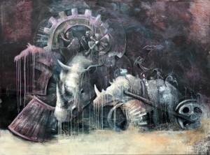 """Bildunterschrift (Foto 1): """"Rammbock"""" – Arbeit des Preisträgers """"Junge Künstler in der Villa"""" 2012, Benjamin Burkard"""