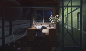 Mathias Otto: Böse Blumen  110 x 282 cm, Öl auf Holz (2014)