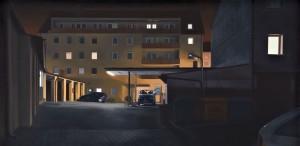 Mathias Otto: Hotel im Kohlhof 110 x 120 cm, Öl auf Holz (2011)