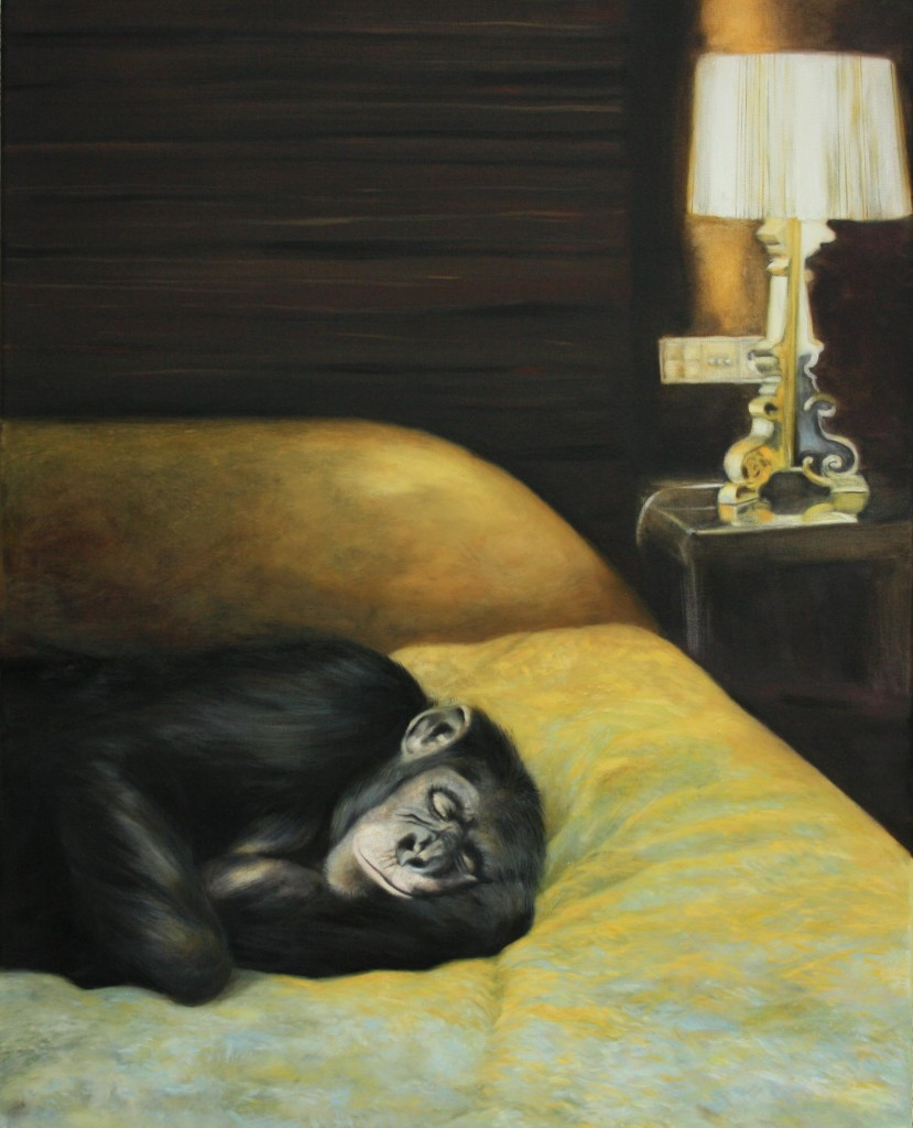 Steiner - Lorenzo in der Luxussuite (Öl auf Leinwand, 100 x 80 cm)